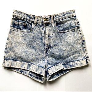 American Apparel Acid Wash High Waisted Shorts